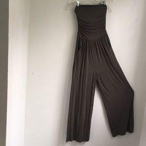 Pants - Wide leg strapless olive green overall